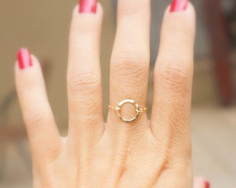 Delicate ring - Gold circle chain ring, circle ring ,14k gold filled, dainty ring, thin ring, eternity gold ring