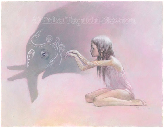 "Elephant Art, Shadow Puppet Painting, Elephant Art Print - ""Shadowplay"""