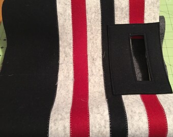 Striped Felt Tote - BLK RED Debora Crichton