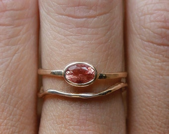 14k Sunstone Goddess Ring Set  | 14k Gold Ring Set |  Oregon Sunstone
