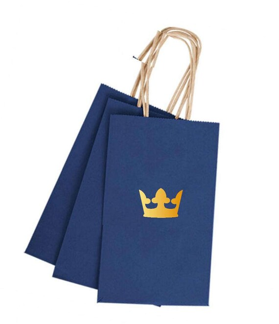 Very Royal Prince Birthday Favor Bags 12 Blue & Gold Gift Bags with XI74