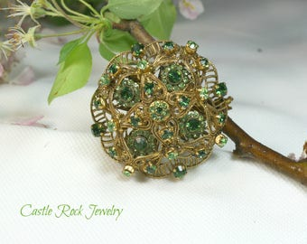 West Germany Signed Vintage Emerald and Filigree Gold Brooch