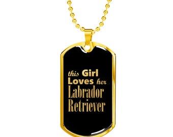 Labrador Retriever v2 - 18k Gold Finished Luxury Dog Tag Necklace, Dog Tag Pendant