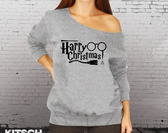 Ugly Christmas Sweater - Ladies Slouchy Sweatshirt - Harry Christmas - Oversized Sweatshirt - Slouchy Sweater -  Off Shoulder - AR-134