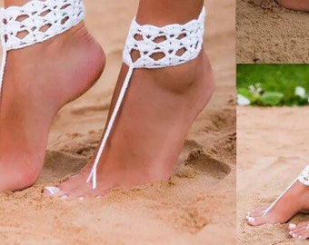 Crochet barefoot wedding sandals beach wear
