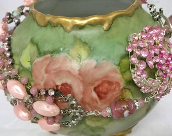 Vintage Assemblage Multi Chain Necklace/ upcycled Mid-century/ Shabby Chic/ Vintage Necklace/ Pink rhinestone necklace