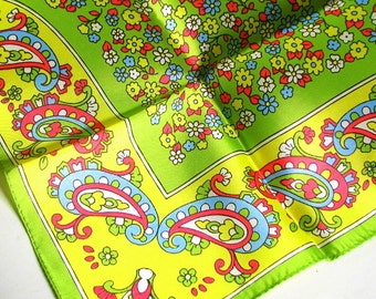 Vintage 1970's Silky Scarf - Neon Green and Yellow with Paisley and Flowers