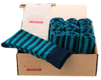 Groomsmen Socks Kit - Navy Light Blue Striped- Premium Cotton - 10 Pairs