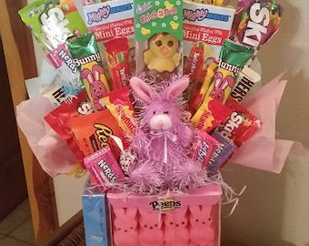 Purple Bunny Peeps Happy Easter Candy Bouquet Easter Candy