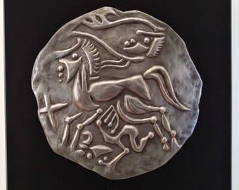 Celtic coin - relief pewter horse Warrior