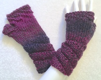 Knit Fingerless Gloves, Deep Purple-Wine Hand Warmers, Fingerless Mitts - Orchid - Twisted Cuff, FG-TC105
