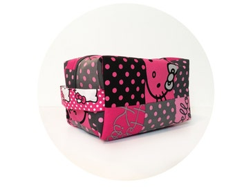 Large Waterproof Cosmetic Bag. Hello Kitty Print Makeup Bag Makeup Bag. Toiletry Bag. Zippered Bag.