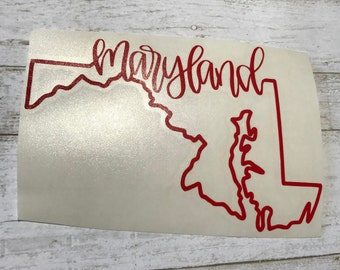 Maryland Sticker Maryland Decal Maryland Home Sticker Maryland Home Decal Maryland State Outline Decal Maryland State Outline Sticker