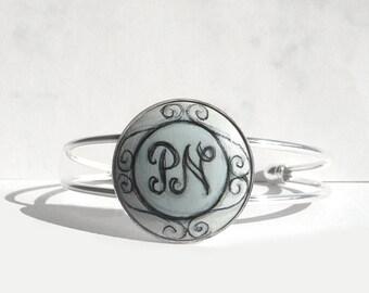 Hand Painted Bracelet Personalized  Bracelet, Charm Initial Bracelet, Letter Art Personalized Jewelry, Handmade  Bracelet
