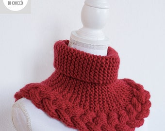 Red hand knitted neckwarmer, wool necwarmer, wool cowl with cable.