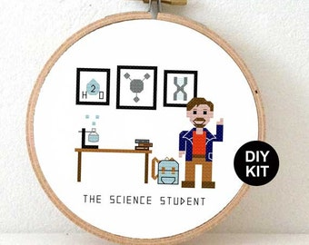 Easy cross Stitch kit for beginners. DIY gift for science student. Science geek gift. Gift ideas for science student or science teacher