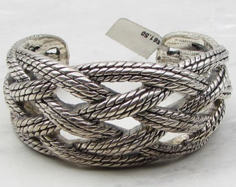925 sterling silver - braided interwoven rope 30mm wide cuff bracelet - b1002