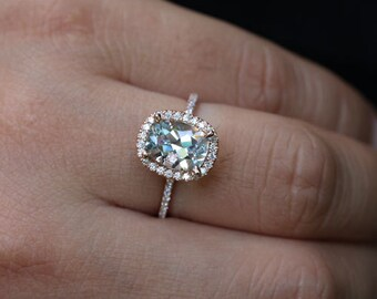 Cushion Rose Gold Aquamarine Engagement Ring with Aquamarine Cushion 9x7mm and Diamond Halo 14k Rose Gold Ring