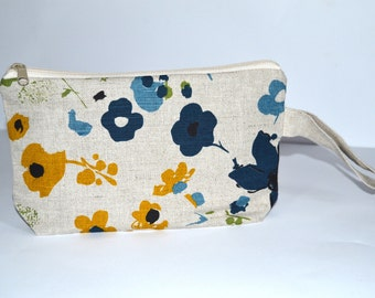 Wristlet pouch - Flowers - Material Natural linen - SALE - READY to SHIP