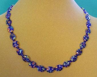 "Cobalt Blue Glass Milliflori Necklace - 18"" - N348,349"