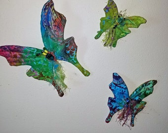 Set of 3 rainbow fiber sculpted butterflies wall accent, Swarovski crystal bodies