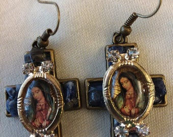 Our Lady of Guadalupe Cross Crucifix Earrings Lapis Rhinestones