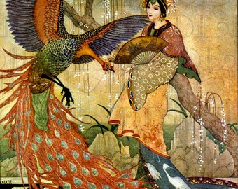 RARE. Gorgeous  Asian Arabian Nights . Vintage Fairy Tale Illustration. Digital Download. Vintage Digital Arabian Nights Print