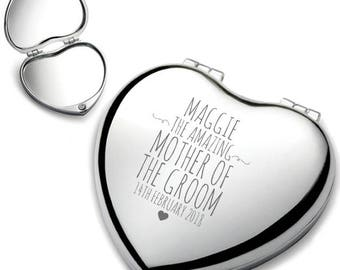 Personalised engraved MOTHER of the GROOM heart shaped compact mirror wedding thank you gift idea, chrome plated - HEM-7