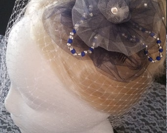 Blue and White Triangle Headpiece