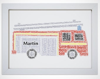 Personalised Fire Fighter Engine Truck Word Art Picture Print Wall Art Boys Gift