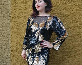 Oleg Cassini Sequin Tunic Blouse Designer Blouse 80s Evening Wear Black and Gold Sequins Epsteam