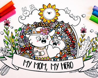 Mommy Cat & Kitten - PDF Coloring Sheet