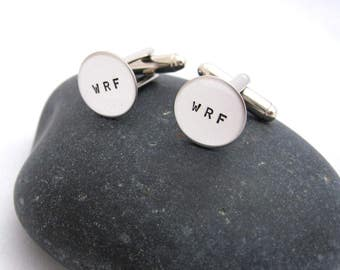 Custom Cuff Links - Wedding Groom Best Man Anniversary Graduation Gift Personalized Cuff Links Initial Cufflinks