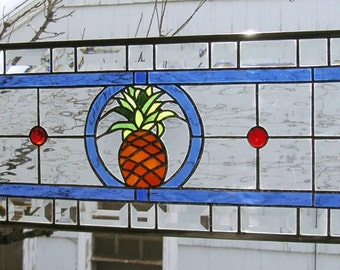 "Stained Glass Window Panel--Pineapple Transom --10.5"" x  34.5"""