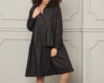 Black Loose Dress, Women Dress, Maternity Dress, Knee Length Dress, Long Sleeve Dress, Shirt Dress, Plus Size Clothing,Oversized Black Dress