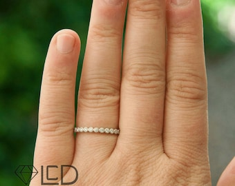 The Harlow Vintage Inspired Diamond Stacking Wedding Band Diamond Anniversary Band Diamond Ring