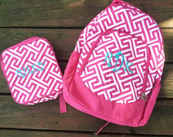 Girls Backpack and Lunchbox Set - Greek Key - Back to School - Personalized Girls Backpack - Lunchbag and Backpack Combo - Monogrammed