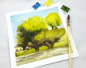 Small watercolor, traditional landscape con trees, square picture, copy of author, gift idea for men, home office decoration, lounging art.