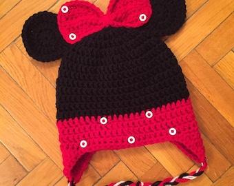 Minnie Inspired Crochet hat / Beanie/ newborn baby Girls ... Disney photo session-winter - babyshower , winter hat