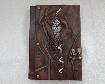 High Quality-Real Leather Handmade Notebook-Dairy-Sketchbook-Journal-Large Size (5.5 inc X 7.8 inc ) (15 cm X 20cm)with OWL  Figure