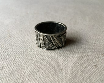 Fused sterling silver ring, industrial jewelry, metalsmithing, brutalist, modern, silversmithing, wearable art, organic, distressed texture