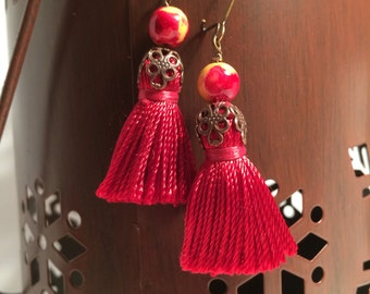 Sunset red  Tassel earrings. Sunset color  ceramic beads, red  tassel earring, fancy Vintaj brass bead caps and tassel earrings, tassels