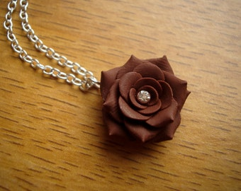 Mocha - Polymer Clay Rose Necklace