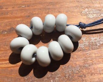 Pearl Grey Lampwork Spacer Beads, SRA, UK Seller, UK Lampwork