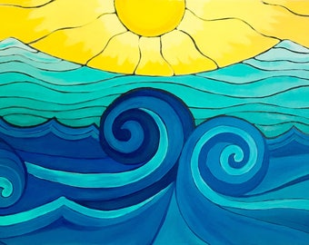 Waves of freedom, Original Acrylic Painting On Canvas. Waves. Whimsical painting.