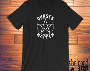 Curses Happen Witchcraft T-shirt Witch Shirts Wiccan Clothing Wicca Witches Tshirts Pentacle Shirts Magic Spells Shirts Pagan T-shirts