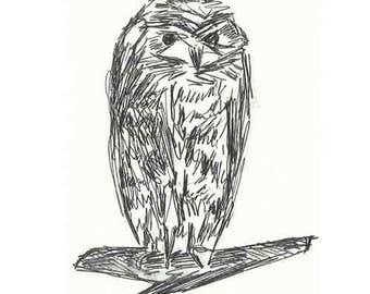 Grumpy Owl Greetings Card
