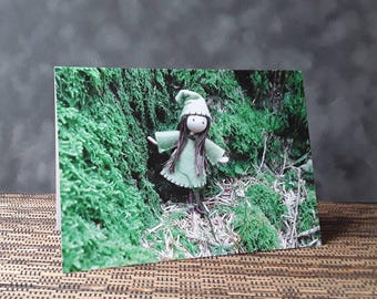 Greetings card - Forest Elf bendy doll