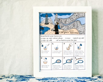 Kitchen Art print 'Crêpes from Brittany' French Recipe illlustration 8x10 Food Blue