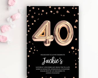 40th Birthday Printable Rose Gold Balloon Invitation & Black